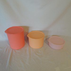 Tupperware Basic Bright Rounds Set of 3 Canisters